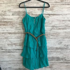 NWT Layered Ruffle Spaghetti Strap Dress w/ Belt